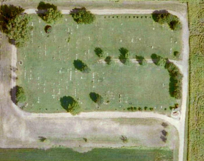 aerial view of cemetary
